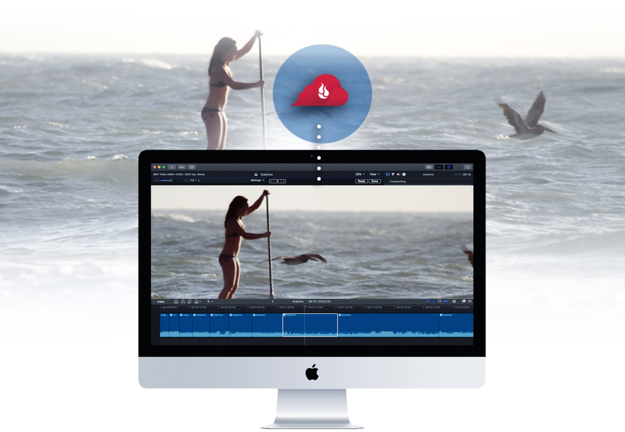 Editing paddle board video stored in the cloud
