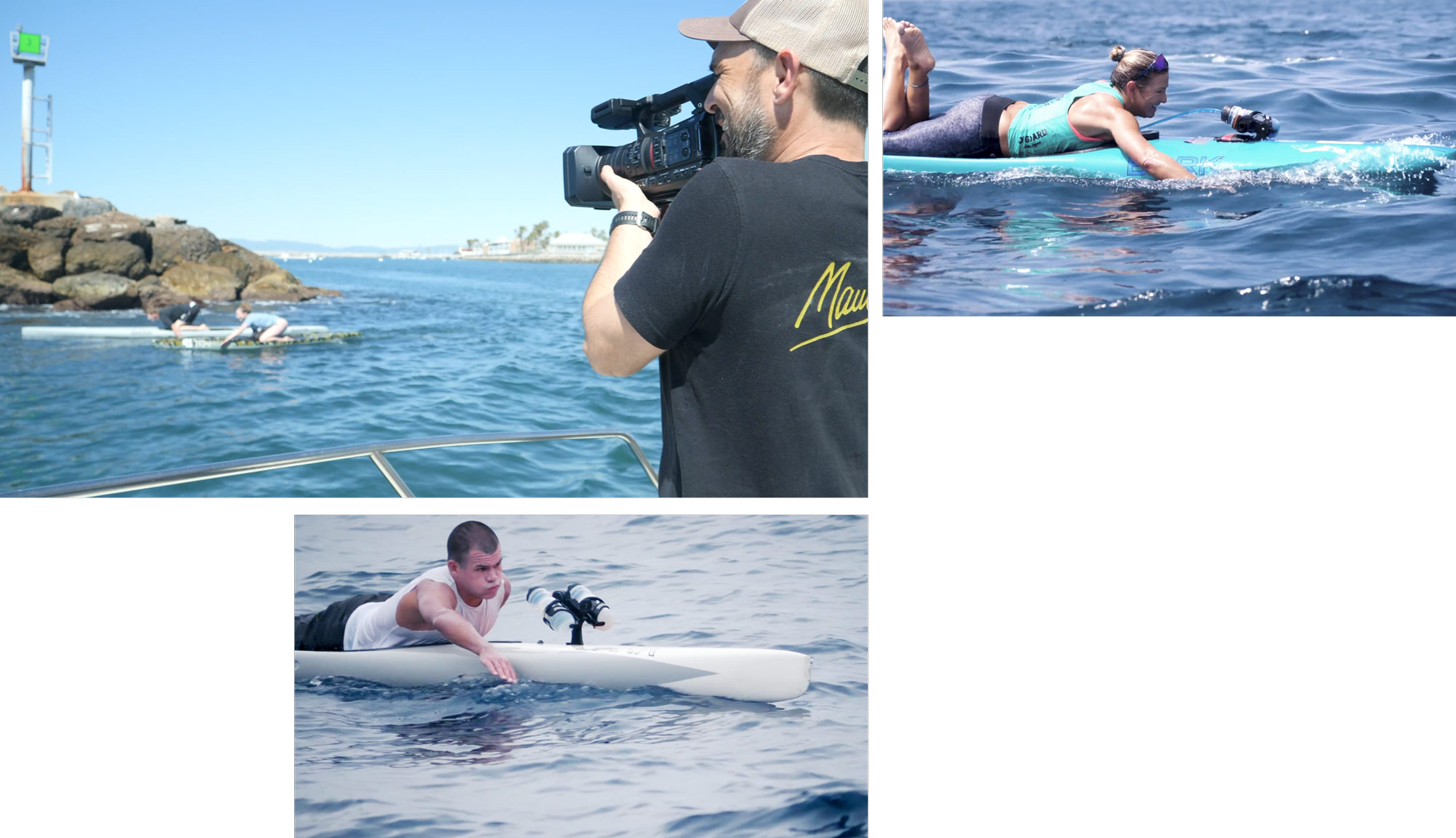 filming paddleboarders, paddleboard competitor in blue, paddleboard racer in white