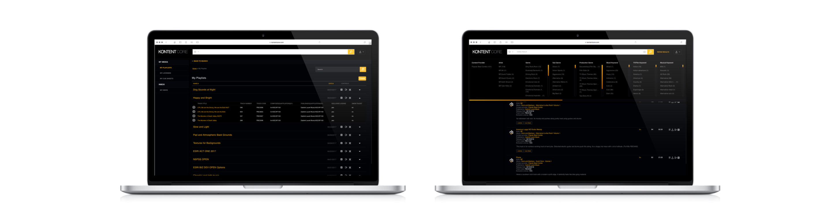 Kontent Core user interface, Kontent Core music discovery