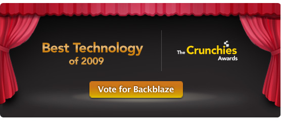 Vote Backblaze for Crunchie Award