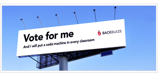 Online Backup billboard vote
