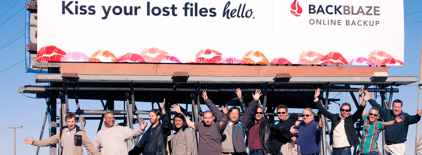 Backblaze billboard on Highway 101 in Silicon Valley, 2011