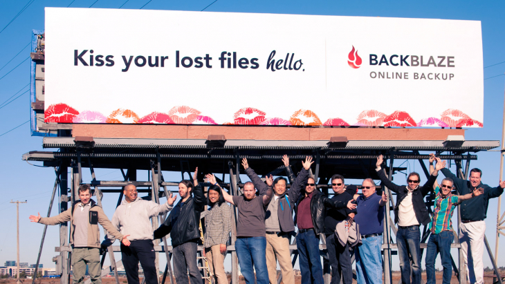 Backblaze billboard on Highway 101 in Silicon Valley, 2011