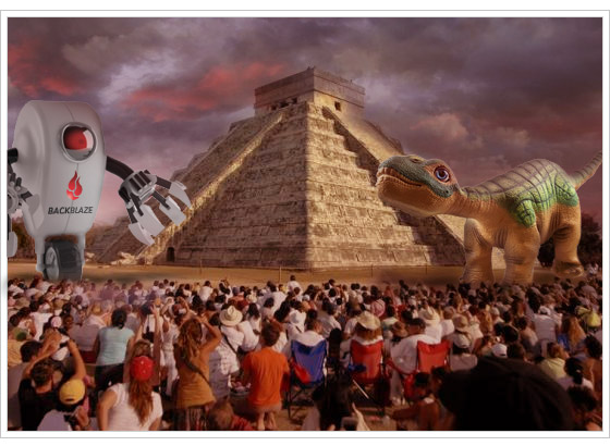 Mayan pyramid with Backblaze robot and dinosaur