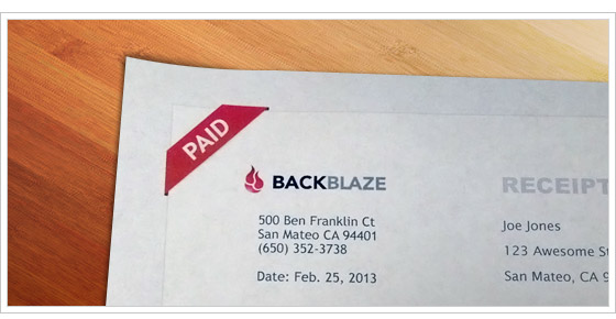 Backblaze invoice