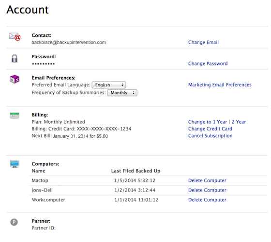 R2.5 Account Page
