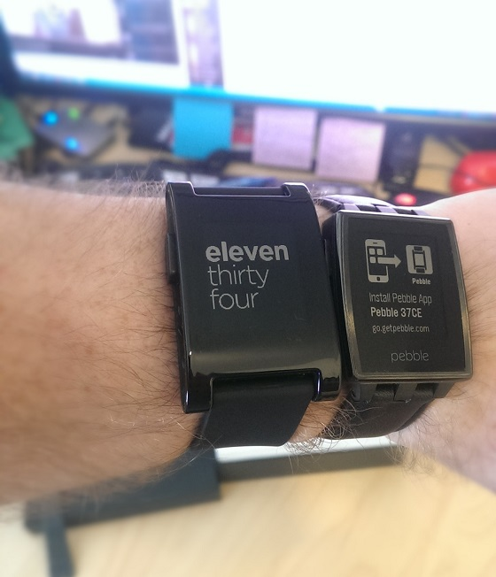 My original Pebble, and my new one, not yet set up.
