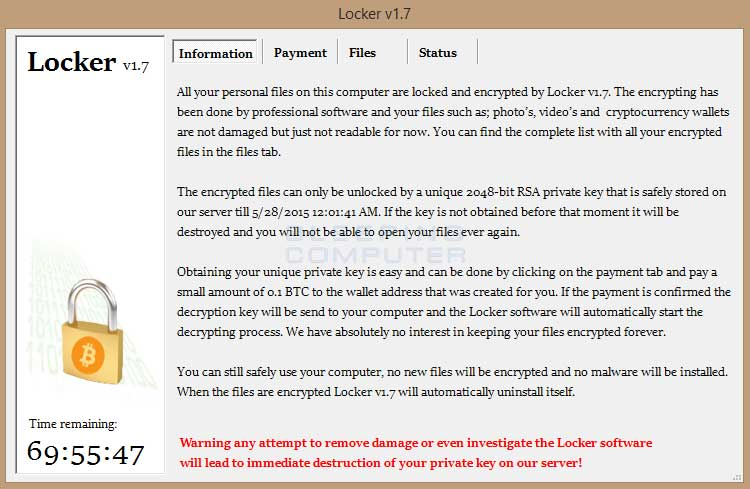 Locker Ransomware Message