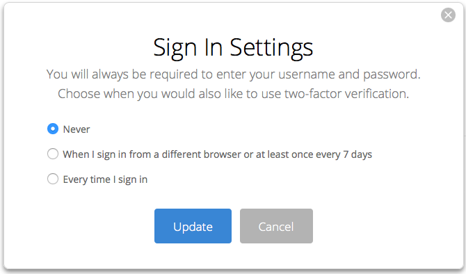 Two Factor Verification Sign In