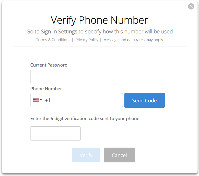 Two-factor verification phone setup