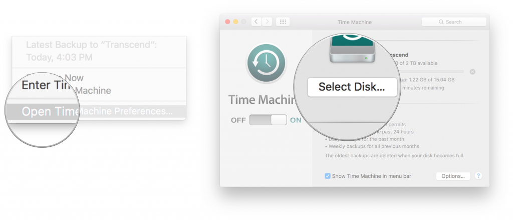 Time Machine dialog showing opening preferences