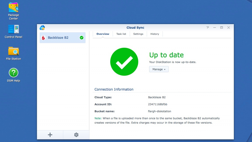 synology cloud backup screenshot