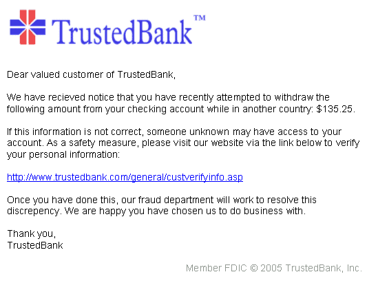 Phishing attack example email