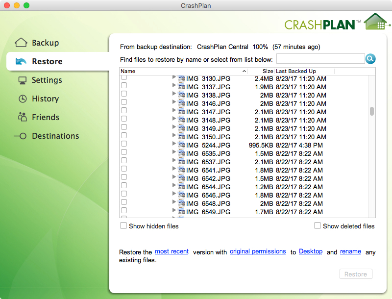 Restore files from Crashplan
