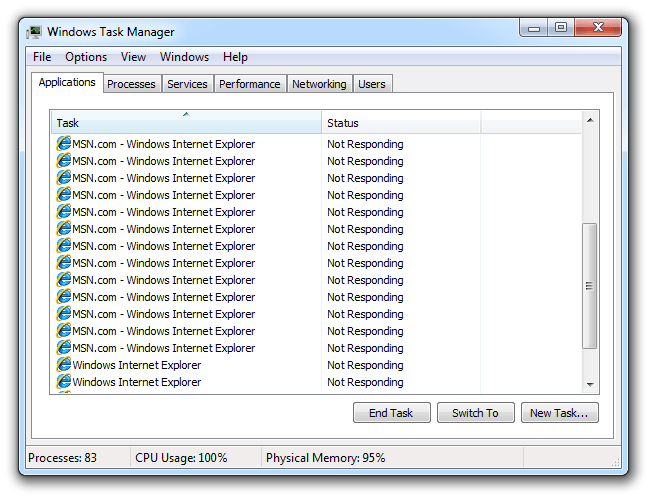 Windows Task Manager view