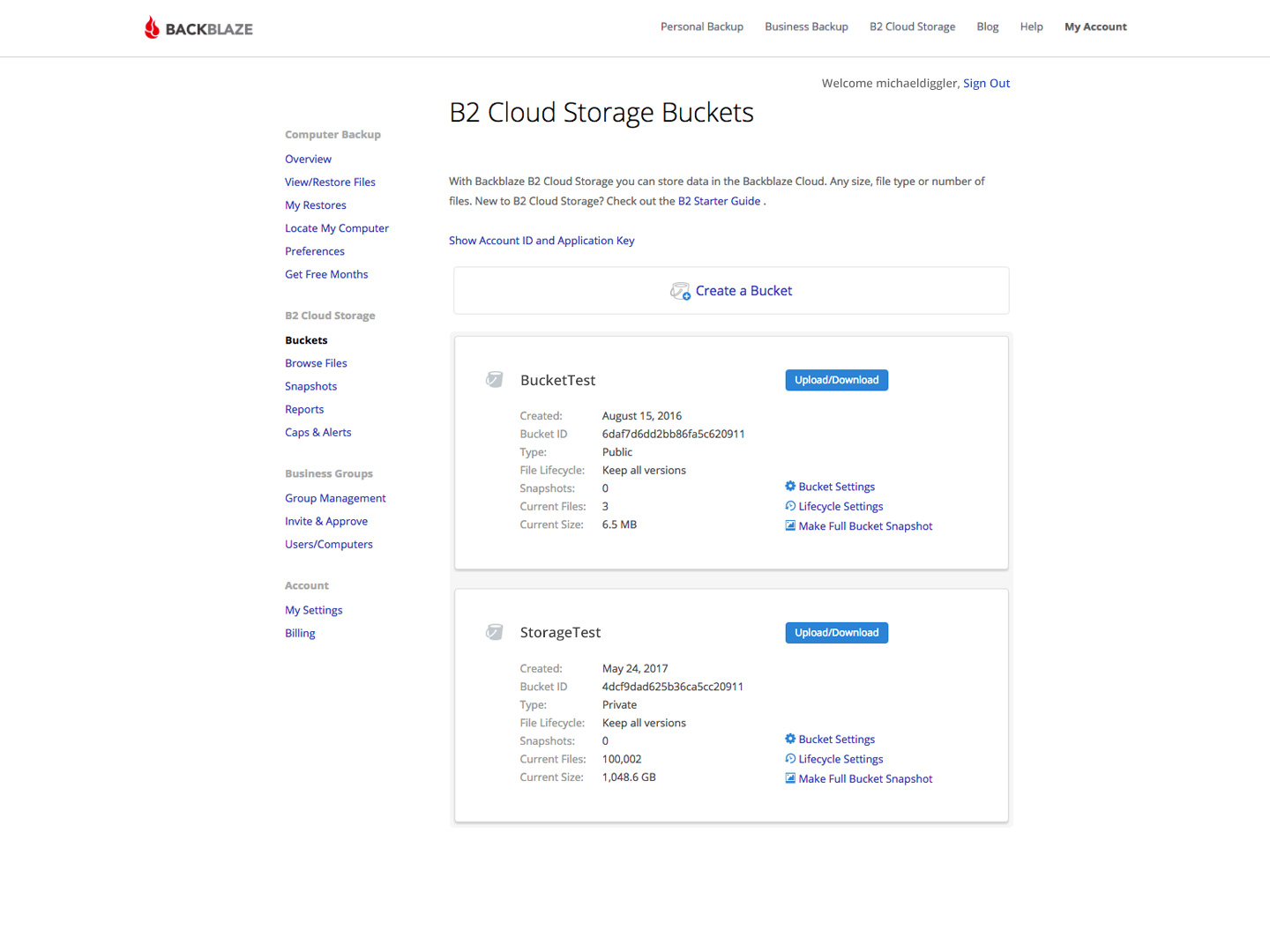 B2 Cloud Storage Buckets screenshot
