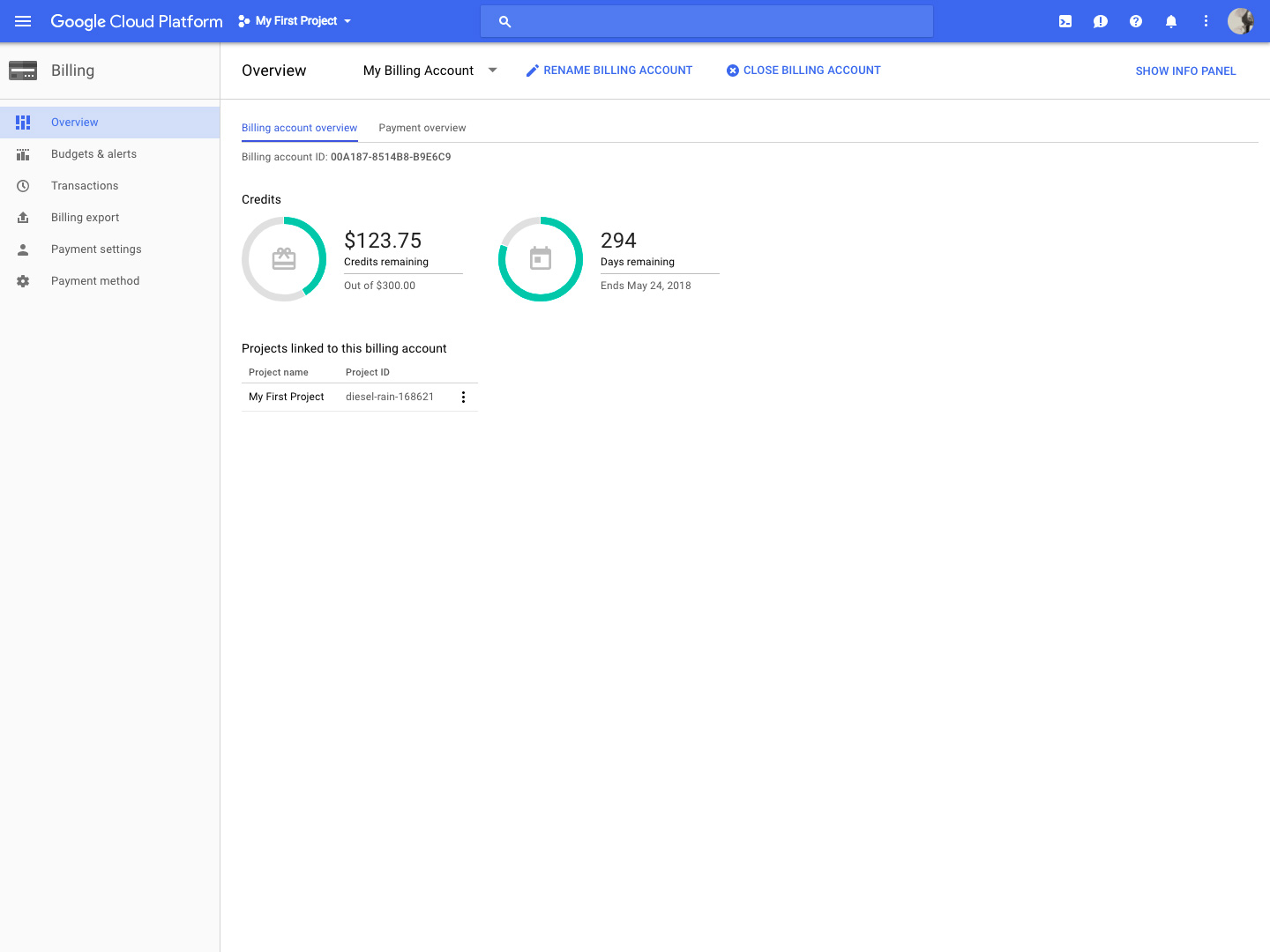 Google Cloud Storage billing screenshot