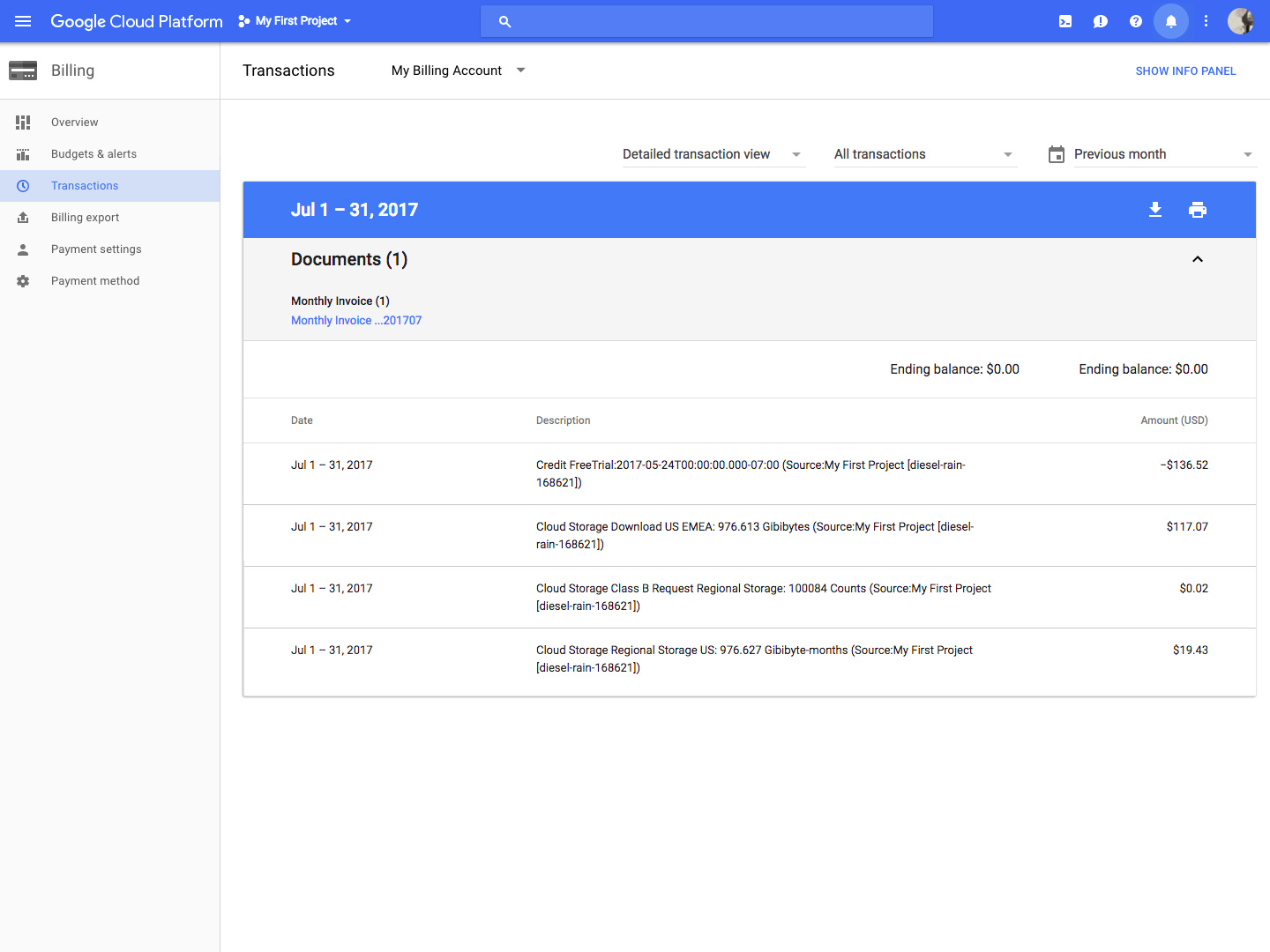 Google Cloud Storage billing details screenshot