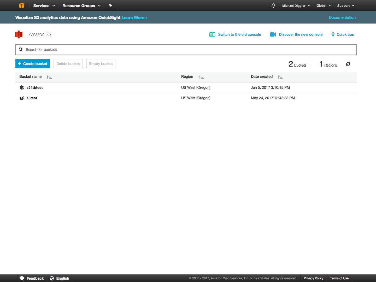 Amazon S3 cloud storage buckets screenshot