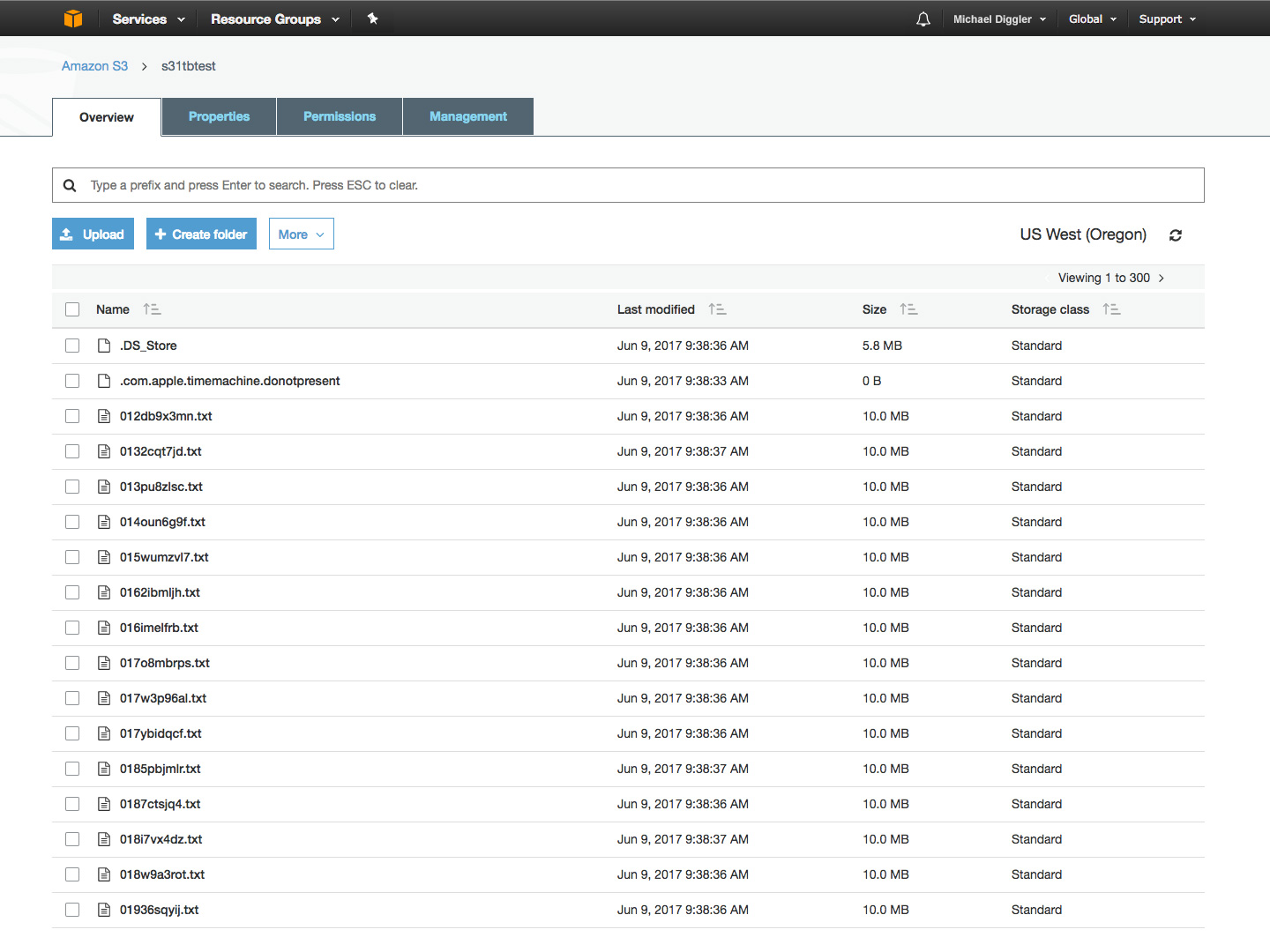 Amazon S3 cloud storage buckets usage screenshot