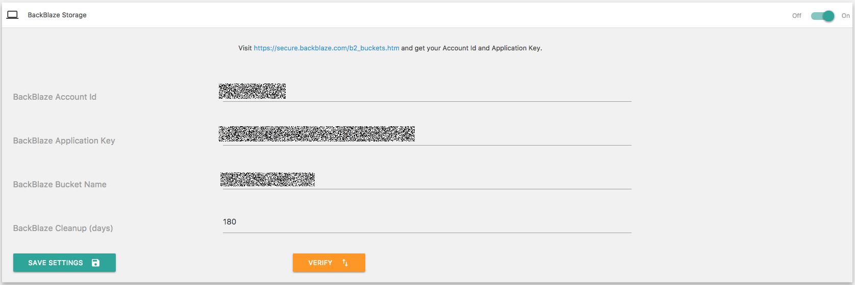 Cloud services noise screenshot of xcloner wordpress backblaze b2 backup settings fandeluxe Gallery
