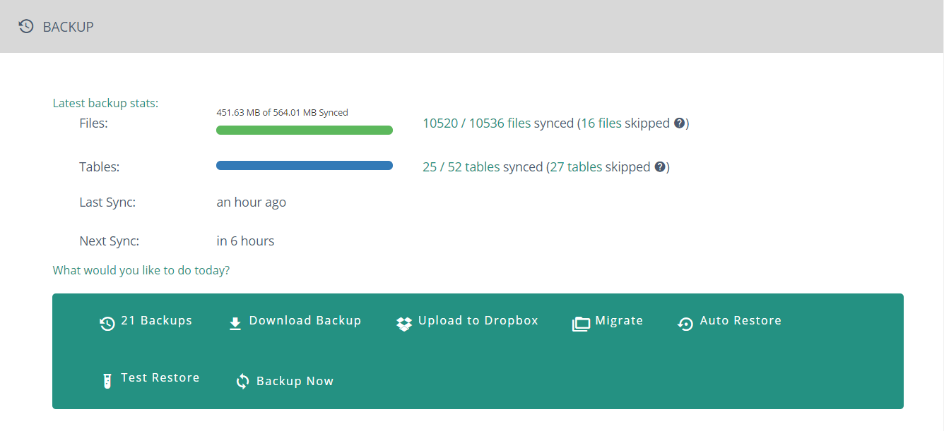 screenshot of BlogValut WordPress Backup settings