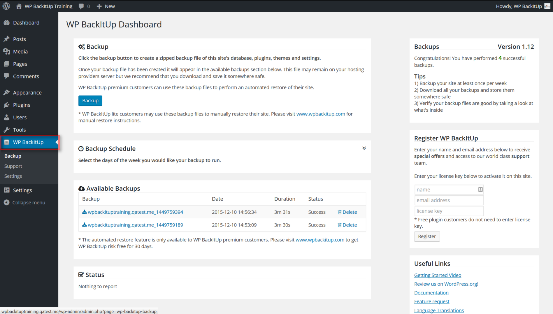 screenshot of WPBackItUp WordPress backup settings