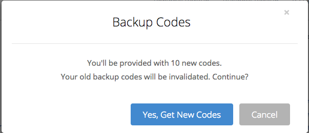 Backup Codes instructions