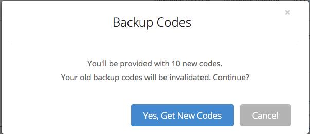 Backup Codes instructions