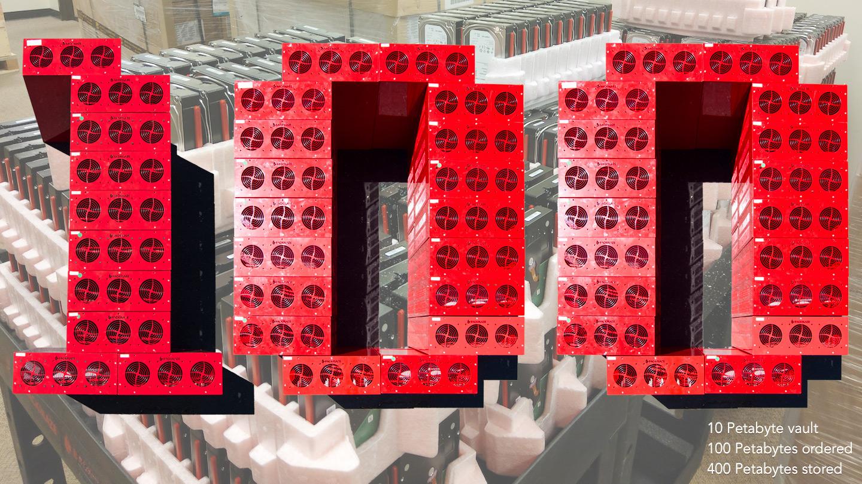 10 Petabyt vault, 100 Petabytes ordered, 400 Petabytes stored