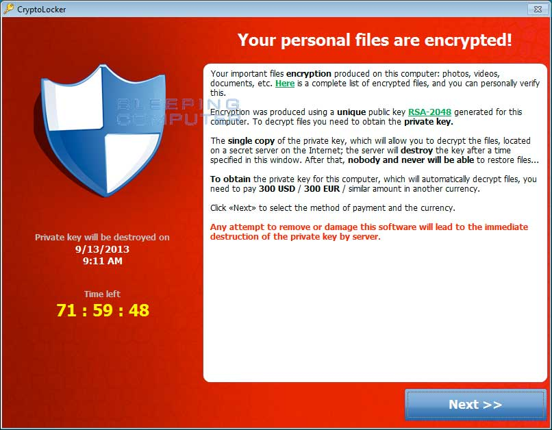 CryptorLocker Ransomware Extortion Dialog
