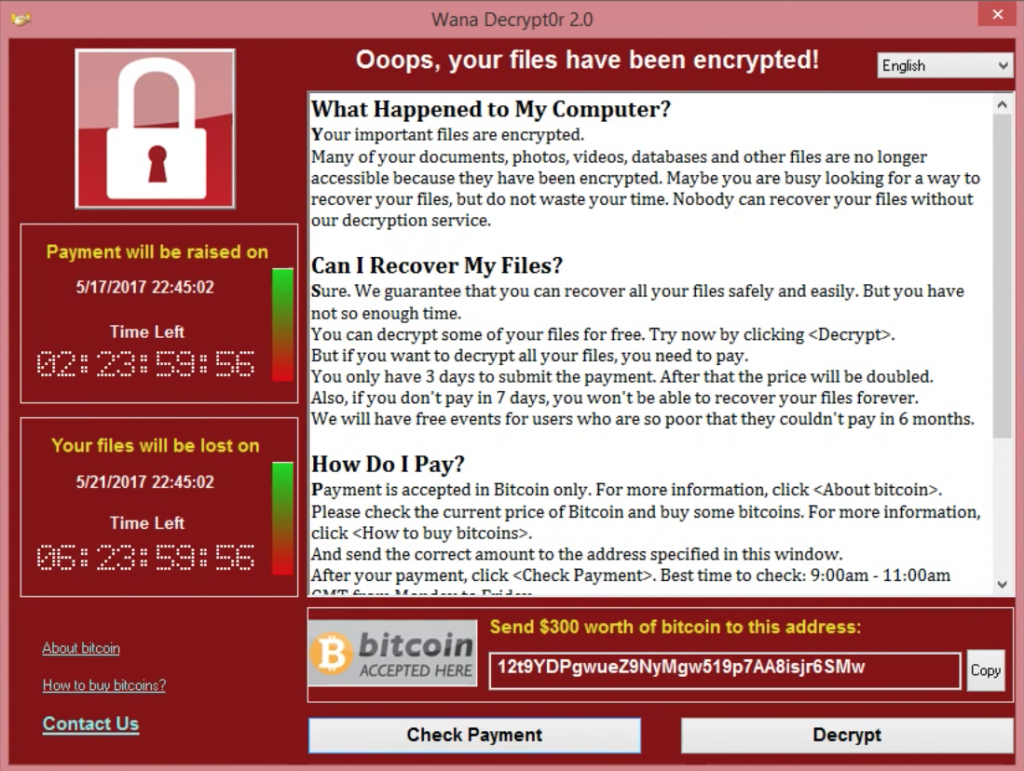 WannaCry Ransomware Extortion Dialog