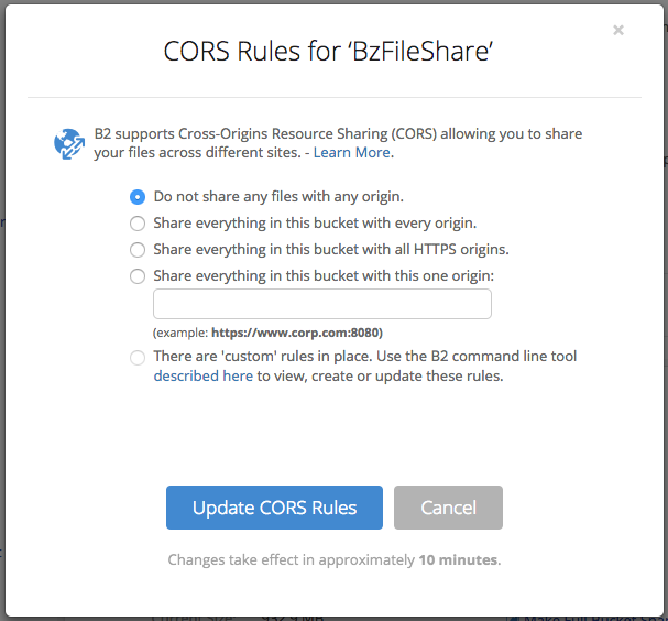 CORS Rules for BzFileShare
