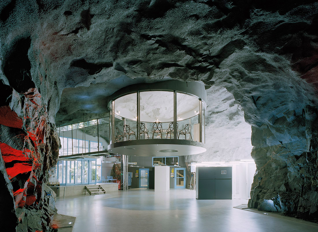 The Bahnhof Data Center under White Mountain in Stockholm, Sweden