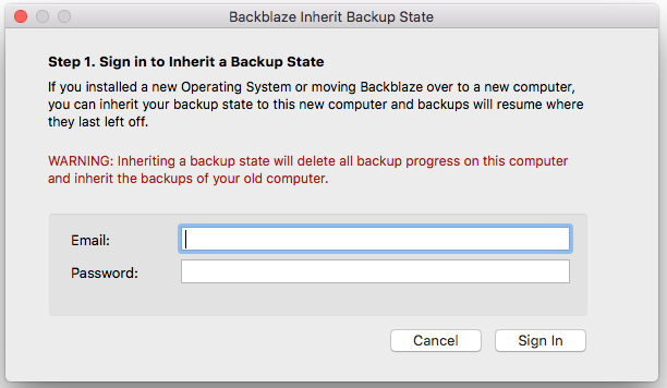 Screenshot of Admin for Inherit Backup State