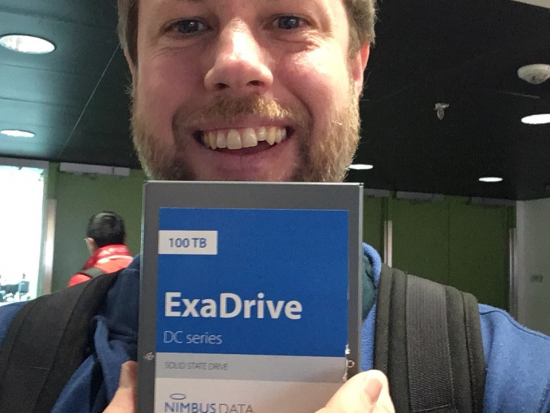 Backblaze Director of Supply Chain holding World's Largest SSD Nimbus Data ExaDrive DC100 100TB