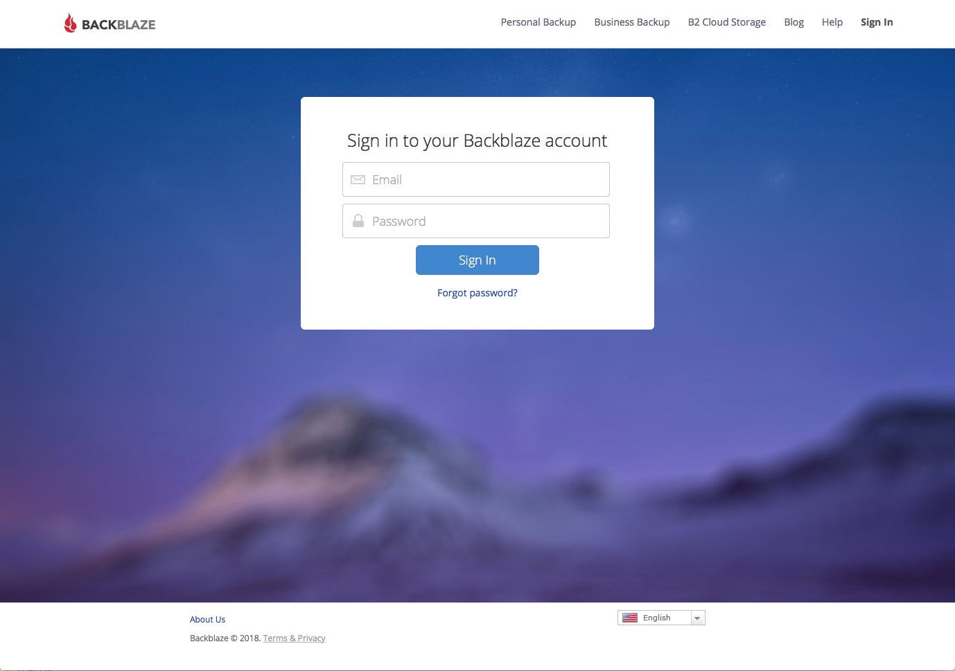 Sign In to Your Backblaze Account