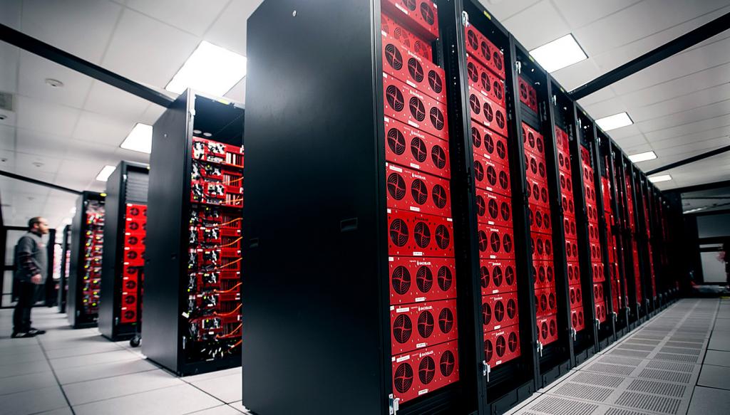 rows of Backblaze storage pods