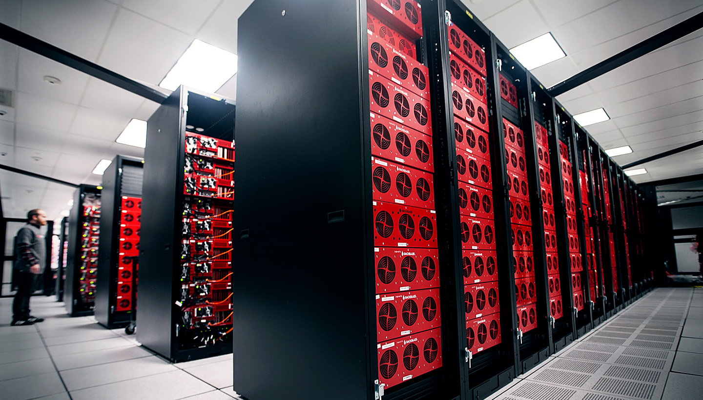 Rows of storage pods in a data center