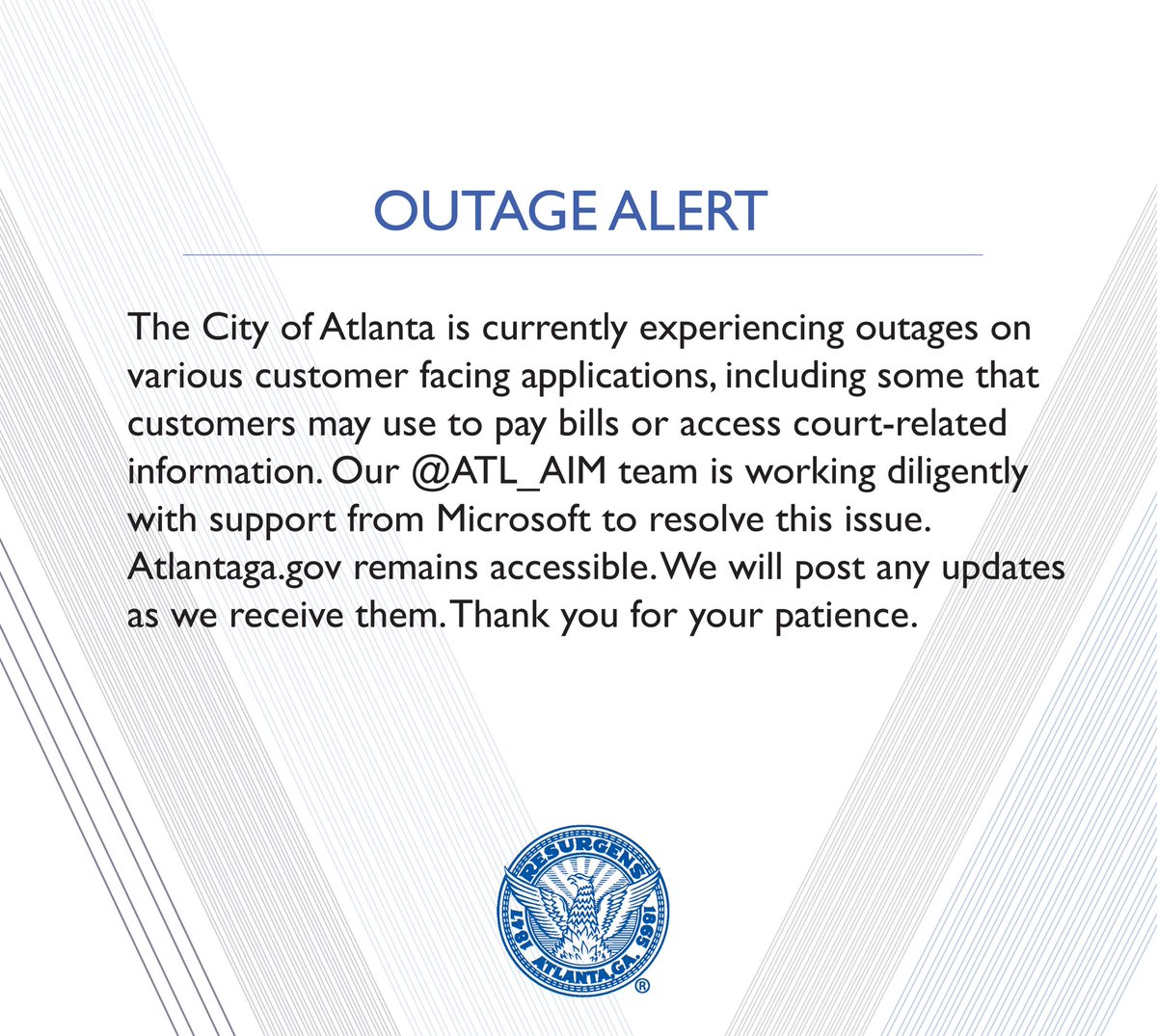 Atlanta Ransomware outage alert