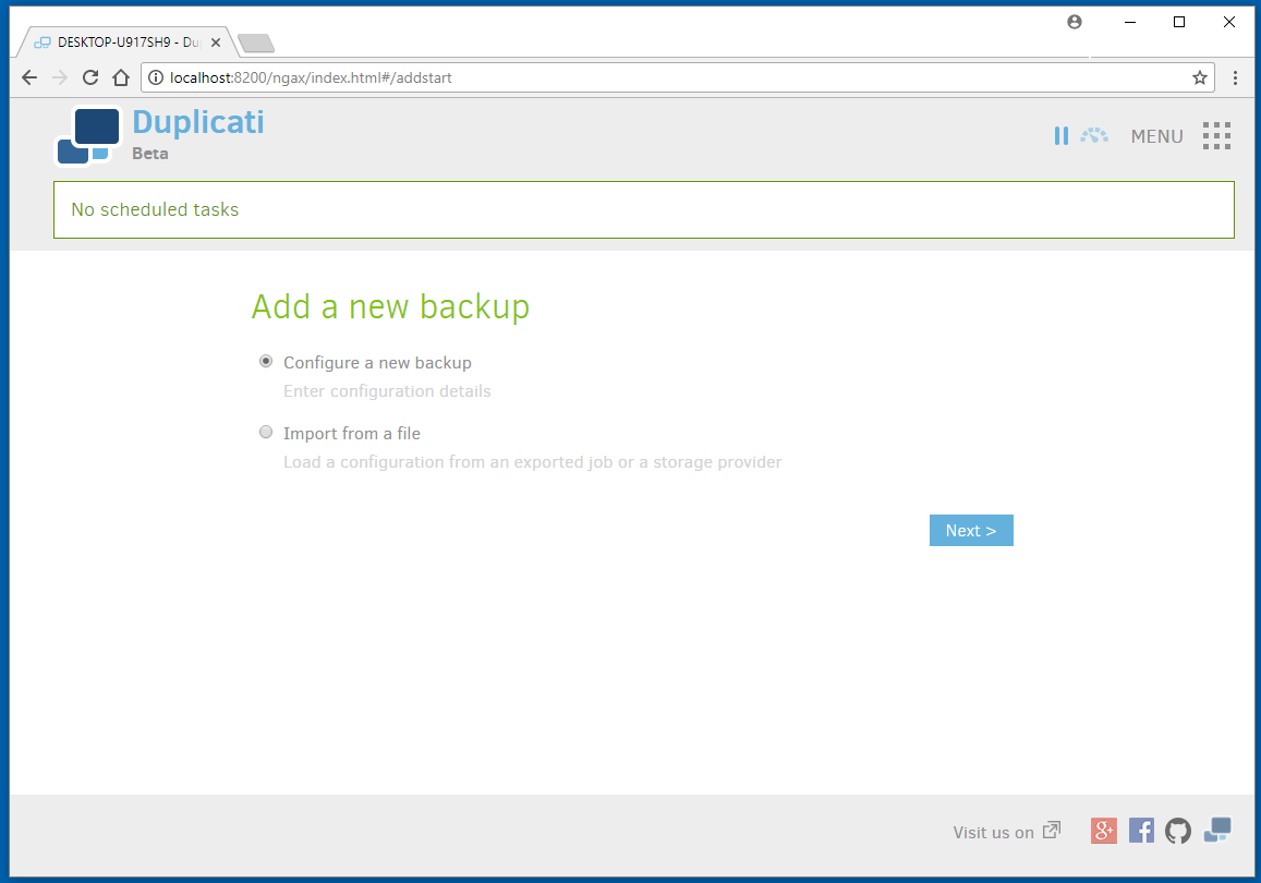 Duplicati Add a New Backup