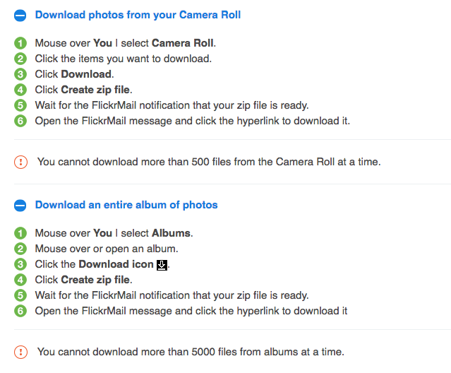 screenshot of Flickr's download options