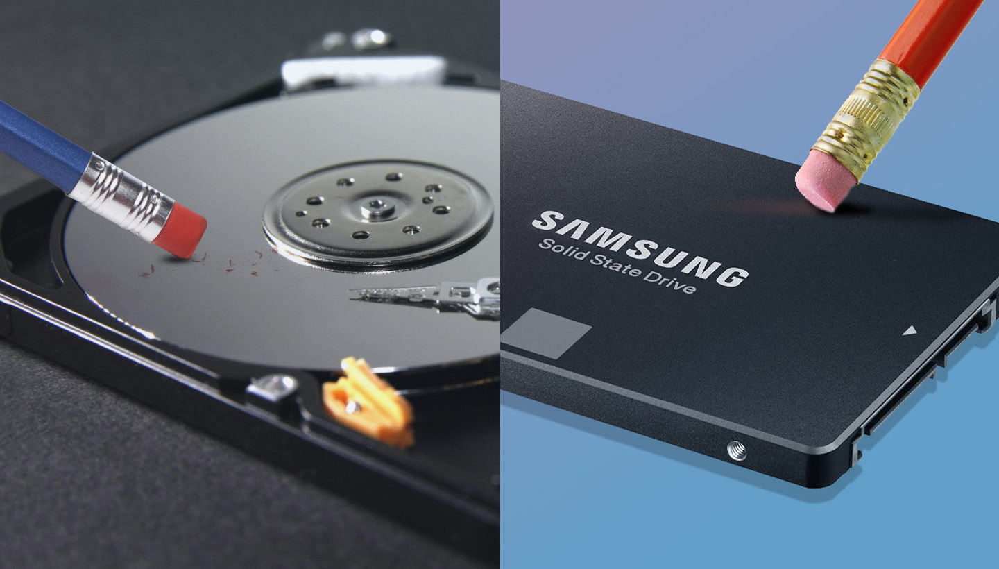 erasing a hard drive and a solid state drive
