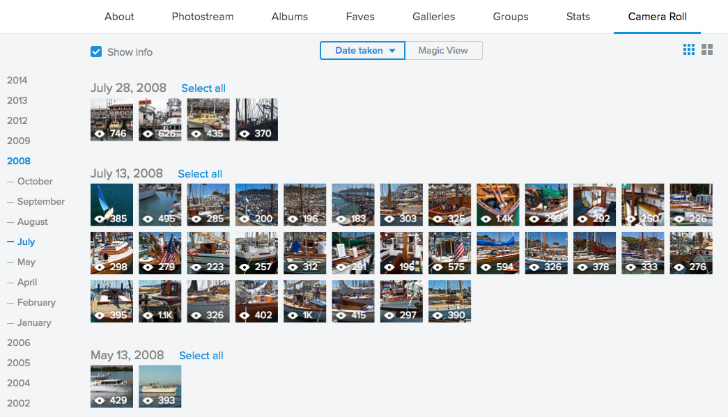 Flickr Camera Roll View screenshot