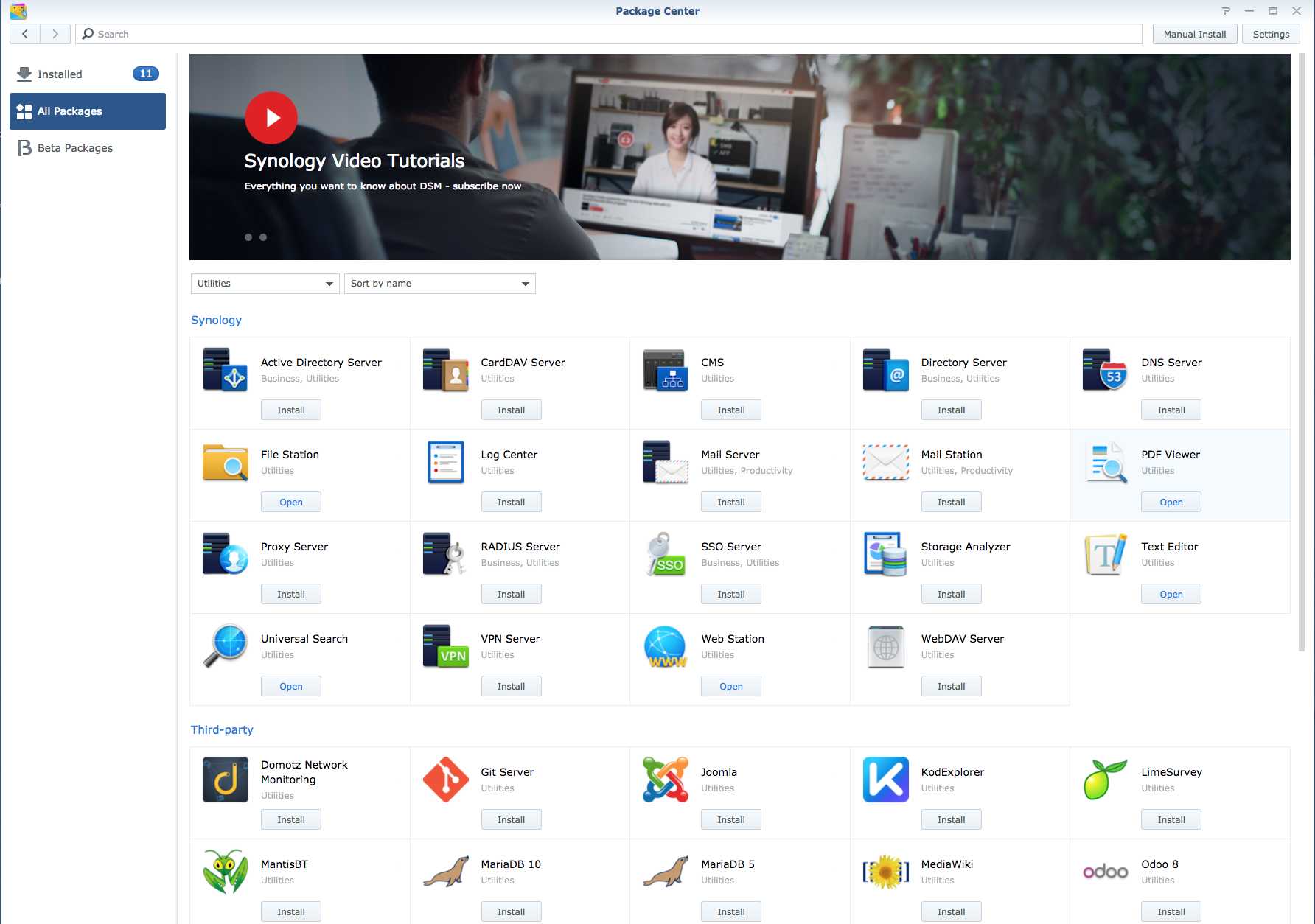 Synology DiskStation Manager Package Center screenshot