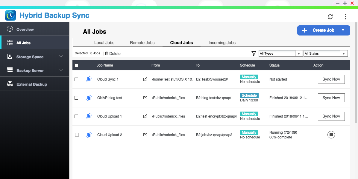 QNAP Hybrid Backup Sync -- All Jobs