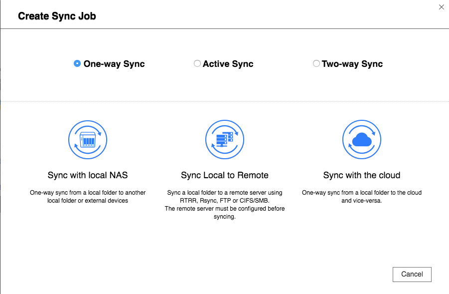 QNAP Hybrid Backup Sync -- Create Sync Job