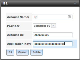 FreeNAS Cloud Sync B2 credentials