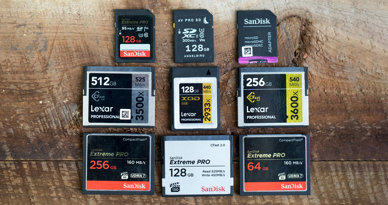 3 rows of 3 memory cards