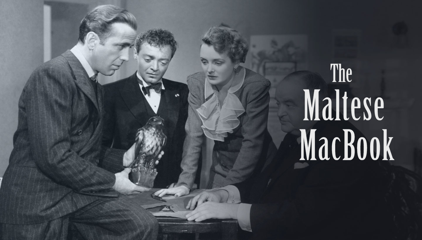 Still from the 1941 John Huston film, The Maltese Falcon, with Humphrey Bogart, Peter Lorre, Mary Astor, and Sydney Greenstreet